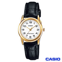 CASIO卡西歐 時尚休閒金系女性皮帶腕錶 LTP-V001GL-7B