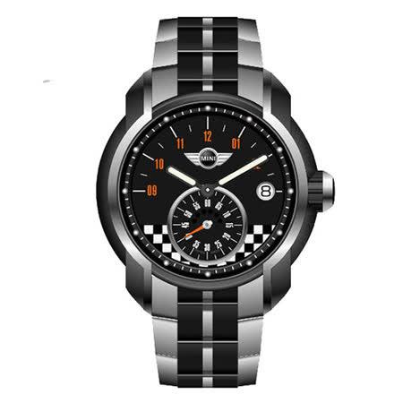 MINI Swiss Watches 經典Cooper 賽車馬賽克時尚鋼帶男用腕錶/45mm/MINI-50ES