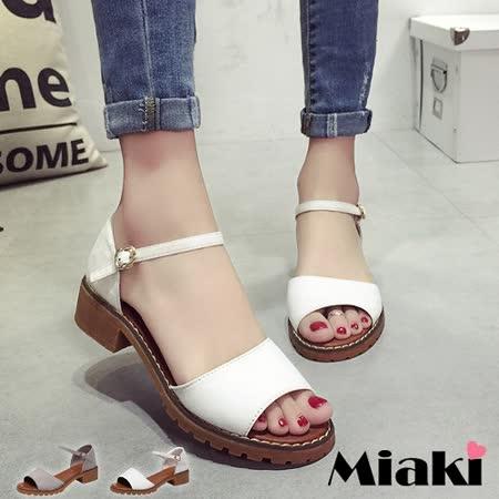 【Miaki】涼鞋韓劇休閒繞踝裸釦低跟涼拖 (灰色 / 白色)