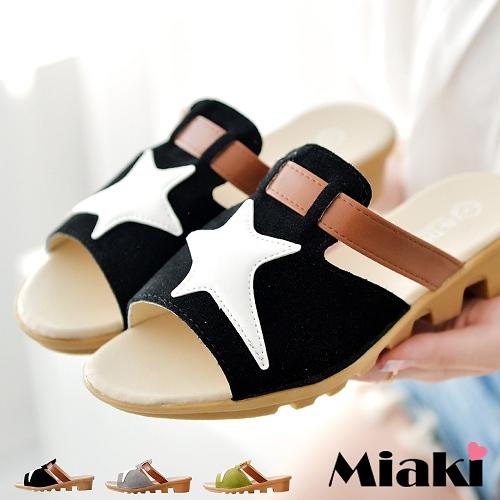 ~Miaki~拖鞋韓星星露趾平底涼拖 ^(灰色 綠色 黑色^)