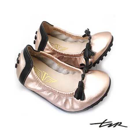 【T2R】真皮人氣心機娃娃平底鞋_流蘇打結款 (內無增高鞋墊) 5870-0058〈粉色〉