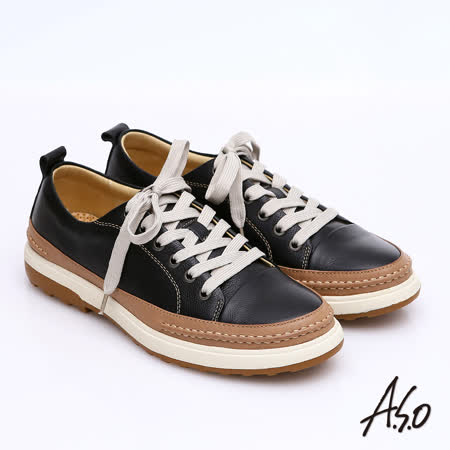 【A.S.O】樂活休閒 全真皮拼接綁帶奈米休閒鞋(黑)