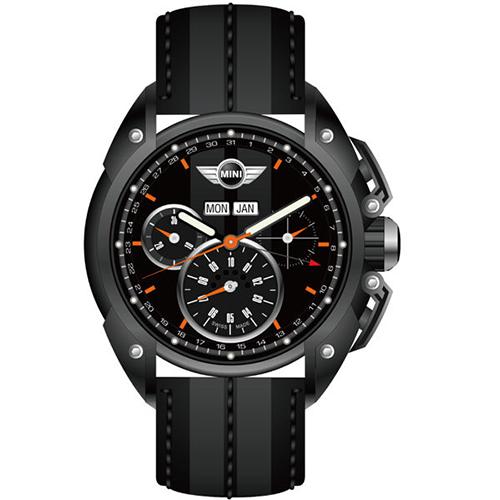 MINI Swiss Watches 極速超跑三眼計時腕錶~黑~45mm ^(MINI~0