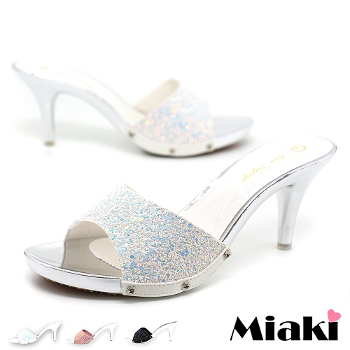 ~Miaki~拖鞋韓金蔥亮片露趾高跟涼拖 ^(白色 黑色 粉色^)