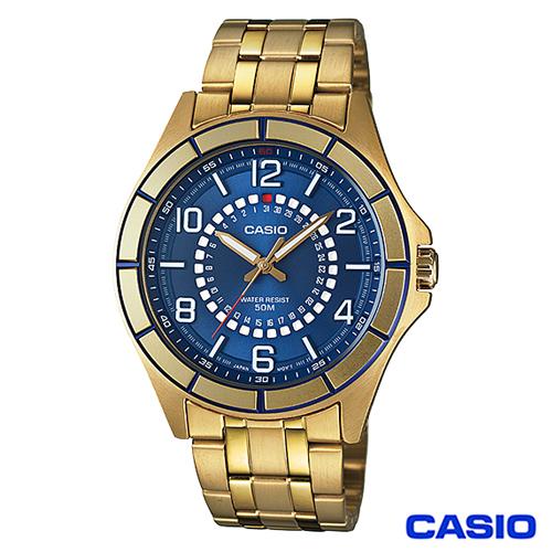 CASIO卡西歐 獨特日期 金系型男腕錶~金藍 MTF~118G~2A
