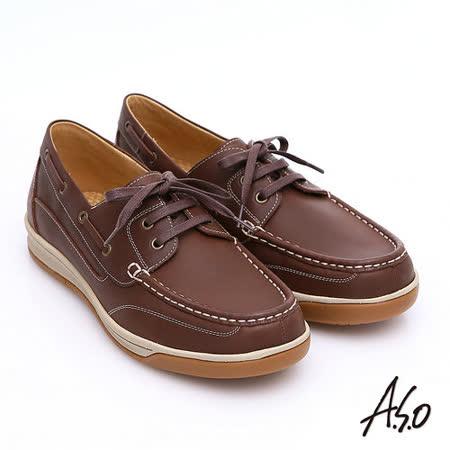 【A.S.O】樂活休閒 蠟感牛皮綁帶奈米帆船休閒鞋(咖啡)