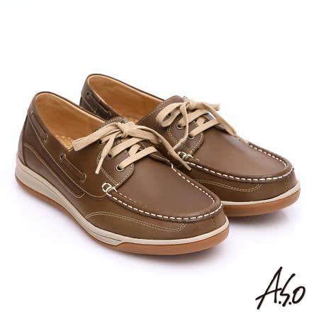 【A.S.O】樂活休閒 蠟感牛皮綁帶奈米帆船休閒鞋(橄欖綠)
