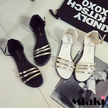 【Miaki】涼鞋首爾金屬一字繫帶平底涼拖 (白色 / 黑色)