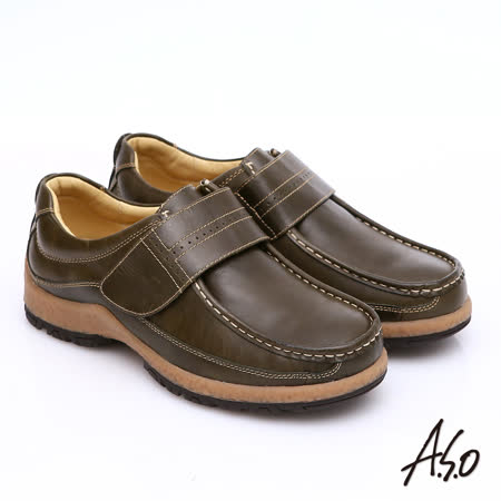 【A.S.O】雅痞休閒 蠟感牛皮魔鬼氈奈米休閒鞋(墨綠)