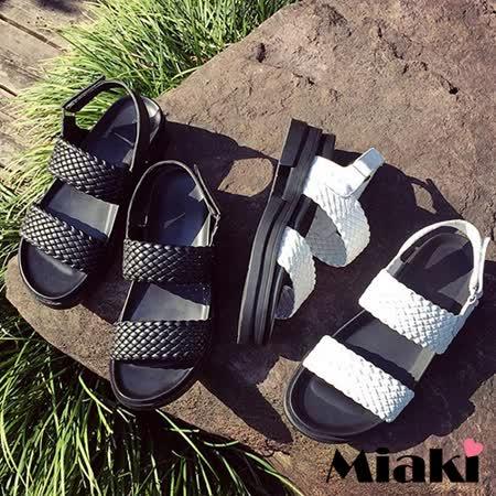 【Miaki】涼鞋韓簡約編織露趾平底涼拖 (白色 / 黑色)