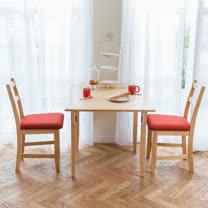 [自然行]- 北歐單邊延伸實木餐桌椅組一桌二椅 74*98公分/原木+橘紅色椅墊