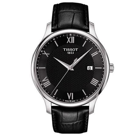 TISSOT 天梭 時尚間約大三針羅馬紳士男用腕錶/42mm/T0636101605800