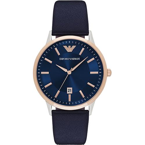 Emporio Armani Classic 都會 石英腕錶~藍x玫塊金x黑43mm AR
