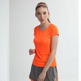 AIRWALK(女)- 城市系列花色繡線吸溼排汗圓領 T恤-橘