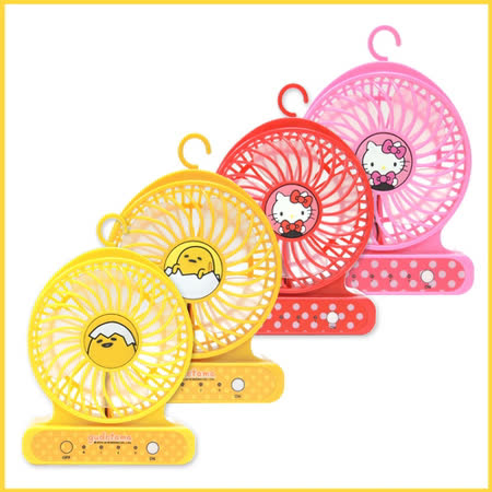 【超值一入組】gudetama 蛋黃哥/ Hello Kitty隨身強力小風扇-FN01