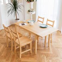 [自然行]- 北歐單邊延伸實木餐桌椅組一桌四椅 74*142公分/原木色