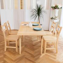 [自然行]- 北歐雙邊延伸實木餐桌椅組一桌四椅 74*166公分/原木色