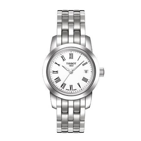 TISSOT 天梭 T-Classic 羅馬字體錶盤時時尚設計女錶-28mm/T0332101101300
