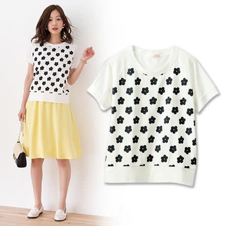 日本Portcros 現貨-可愛小花印花短袖T恤-L