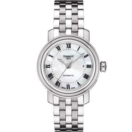 TISSOT 天梭 Bridgeport 優雅女仕機械腕錶/珍珠貝-29mm-T0970071111300