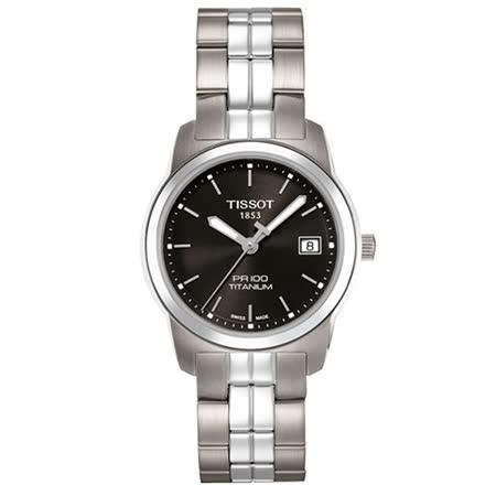 TISSOT T-CLASSIC系列鈦金時尚女性腕錶/黑-28mm-T0493104405100