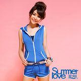 【夏之戀SUMMERLOVE】亮寶藍連身褲三件式泳裝(S16739)