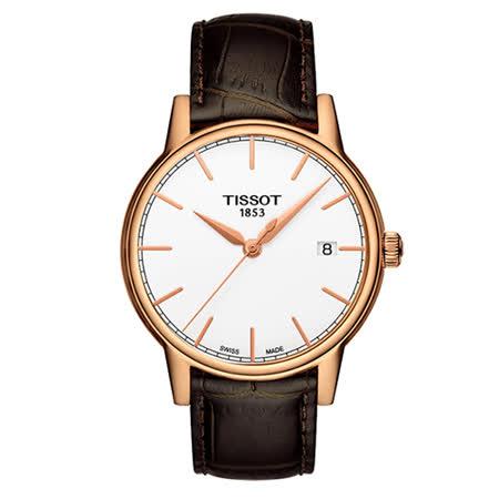 TISSOT T-Classic 高貴氣質時尚腕錶-玫瑰金-40mm-T0854103601100