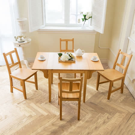 [自然行]- 南法雙邊延伸實木餐桌椅組一桌四椅74X122公分/原木+原木椅墊