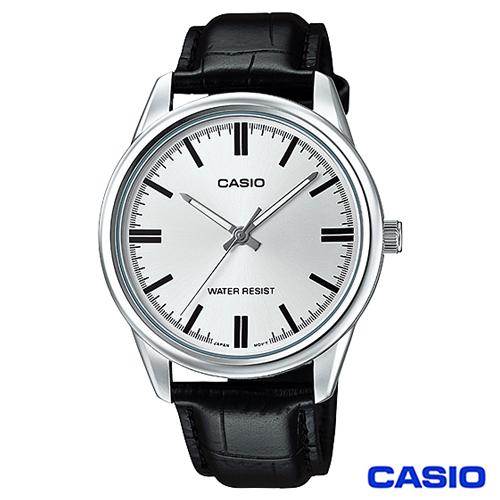 CASIO卡西歐 簡潔風格皮帶男錶~白 MTP~V005L~7A