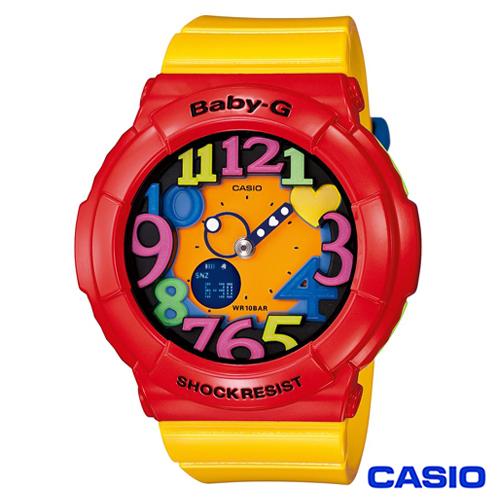 CASIO卡西歐 Baby~G超 霓虹照明果凍新色3D時刻繽紛錶 BGA~131~4B5