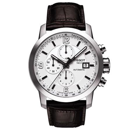 TISSOT PRC200 三眼計時機械皮帶腕錶(銀/43mm)-T0554271601700