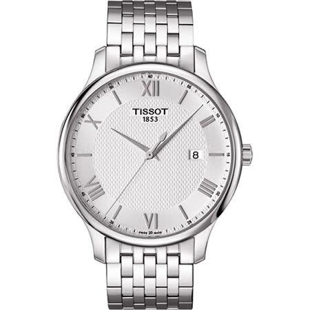 TISSOT 羅馬懷舊帝國時尚男用腕錶-銀/42mm/T0636101103800