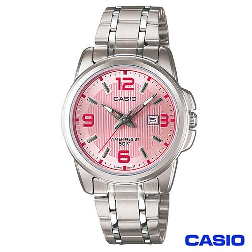 CASIO卡西歐 簡約優雅指針型氣質女錶~粉 LTP~1314D~5A
