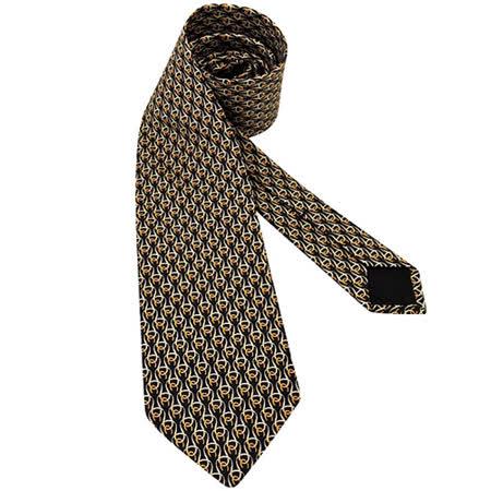 GUCCI 馬蹄環釦絲質造型領帶-黑色