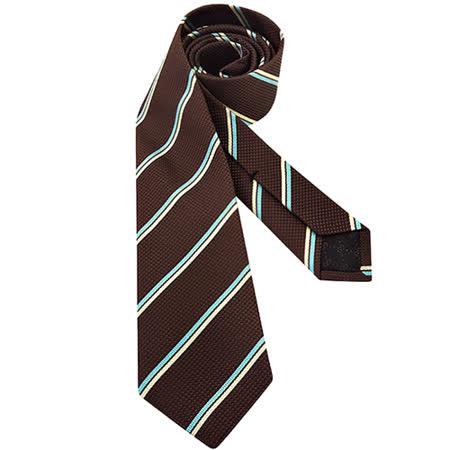 GUCCI 條紋絲質造型領帶-深咖啡色