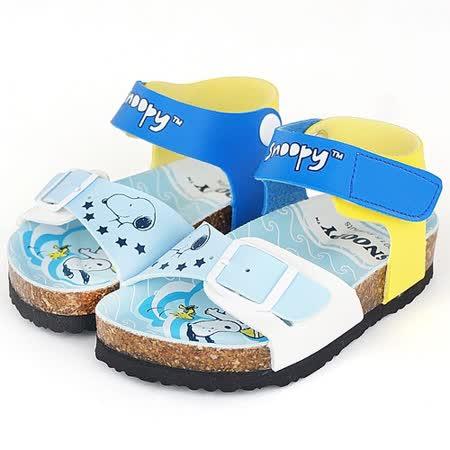 Snoopy史努比 輕量舒適減壓休閒腳床型涼鞋 515315-水