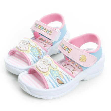 Cinnamoroll 大耳狗 條紋風舒適輕量休閒涼鞋 815747-水