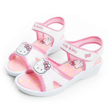 Hello Kitty 點點風輕量舒適休閒涼鞋 815766-白粉