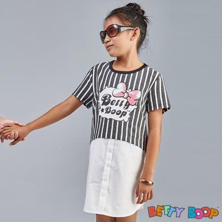 【Betty Boop貝蒂】假兩件直條紋亮片膠圖長版上衣(共二色)