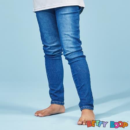 【Betty Boop貝蒂】丹寧鬆緊口袋彈性窄管長褲(藍色)