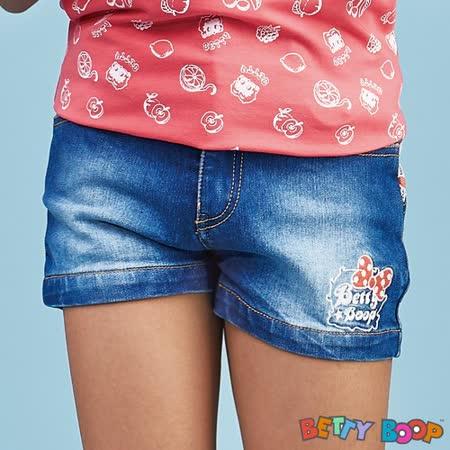 【Betty Boop貝蒂】後緹花刷白鬆緊口袋牛仔短褲(藍色)