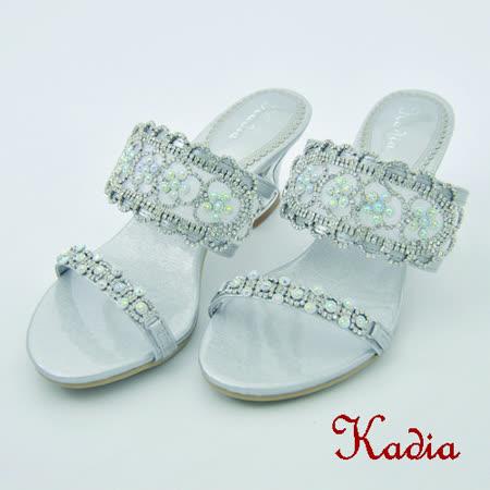Kadia.典雅高貴華麗水鑽高跟拖鞋(銀色)