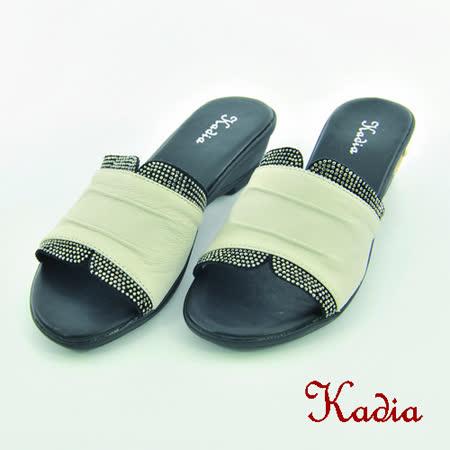 kadia.水鑽點綴牛皮拖鞋(白色)