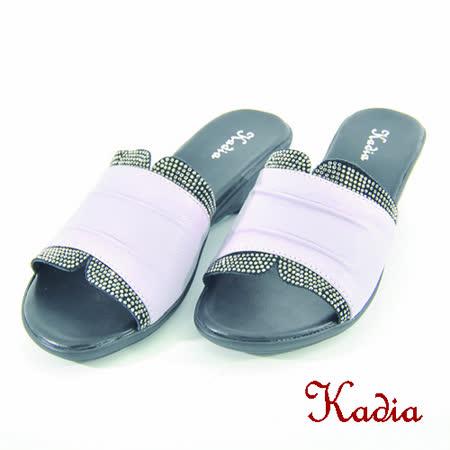 kadia.水鑽點綴牛皮拖鞋(紫色)