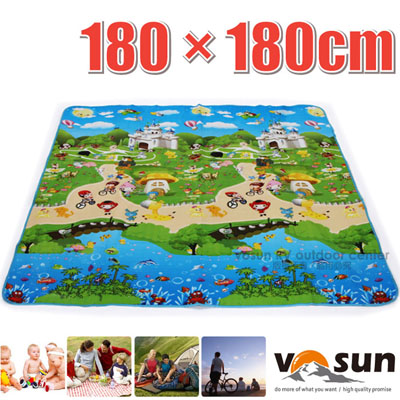 ~VOSUN~童趣 多用途超大加厚防水野餐墊^(180×180x0.3cm^).爬行墊.露