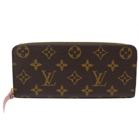 Louis Vuitton LV M61298 Clemence 經典花紋拉鍊長夾.粉_現貨