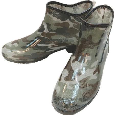 【波克貓哈日網】日本進口雨鞋◇短靴式造型◇《綠色迷彩圖案》抗菌防水