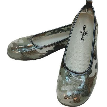 【波克貓哈日網】日本進口雨鞋◇娃娃鞋造型◇《綠色迷彩圖案》抗菌防水