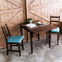 [自然行]-單邊延伸實木餐桌椅組一桌二椅 74*98公分焦糖+湖水藍椅墊