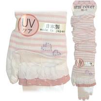 【波克貓哈日網】日本製UV袖套◇紗米底粉條紋◇《套至手臂》60cm